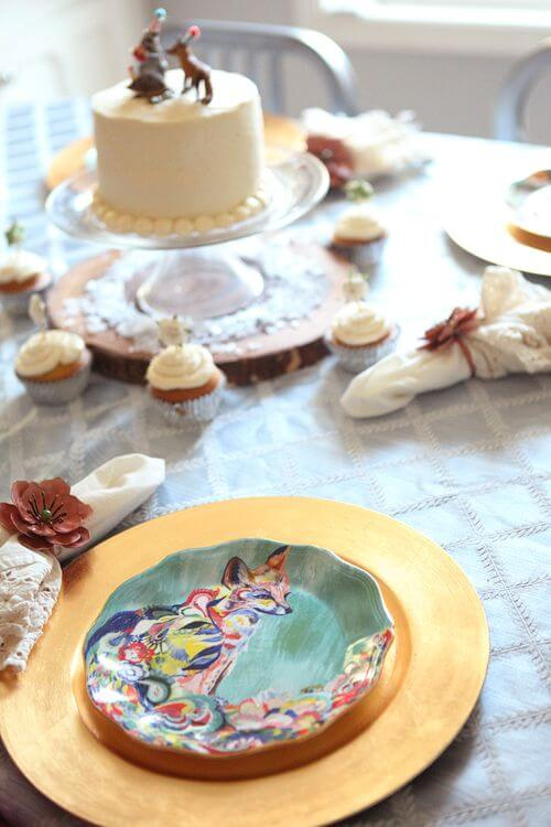 Woodland party, table scape, love the fox plates! - Feature Friday: Woodland Party! | Halfpint Design - this cute woodland party was simple but elegant. Come see the rest of the details...
