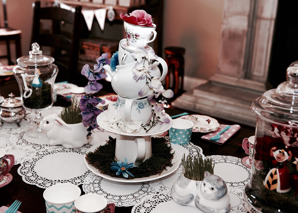 Topsy turvy centerpiece, Alice in Wonderland Tea Party | Halfpint Design