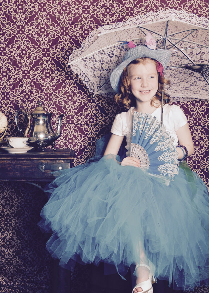 Photoshoot of birthday girl, Alice in Wonderland Tea Party | Halfpint Design