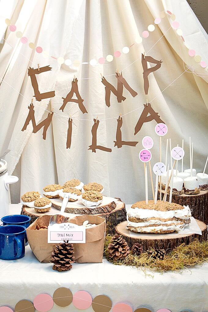 Top Party Trends for 2017. Trend 1: Still loving nature...fairy garden, lumberjack, camping, glamping, woodland, cactus. | Halfpint Design - Beautiful indoor glamping party