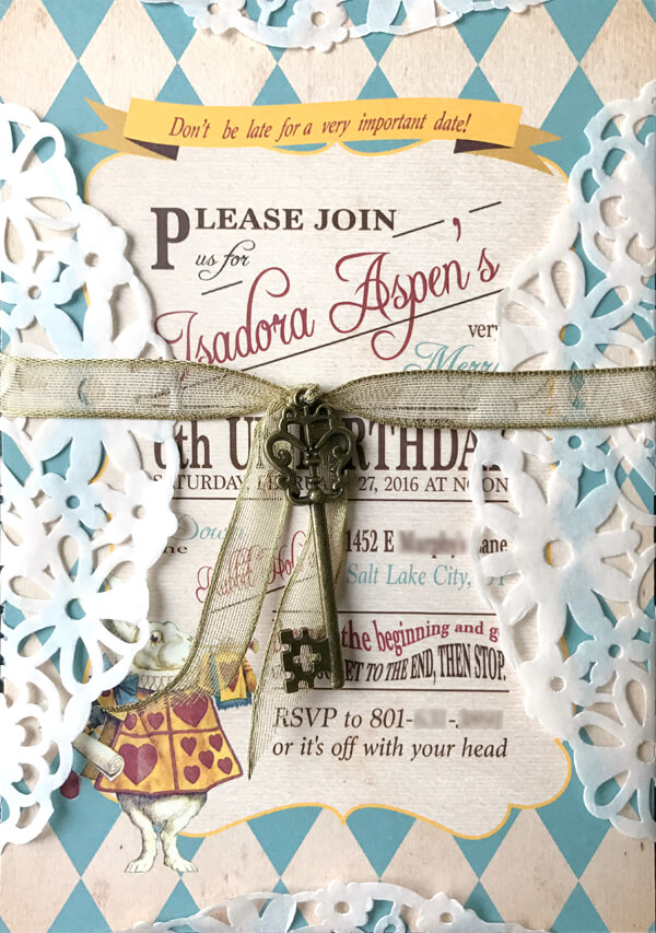 Our beautiful Alice inspired tea party invitation. I loved how it ended up with the doily and the key. Alice in Wonderland tea party sources   Halfpint Design