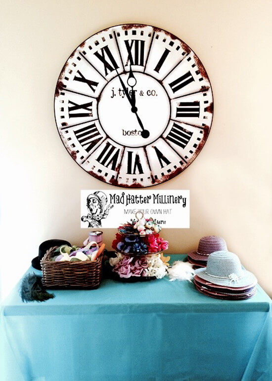 Mad Hatter Millinery station, Alice in Wonderland Tea Party | Halfpint Design