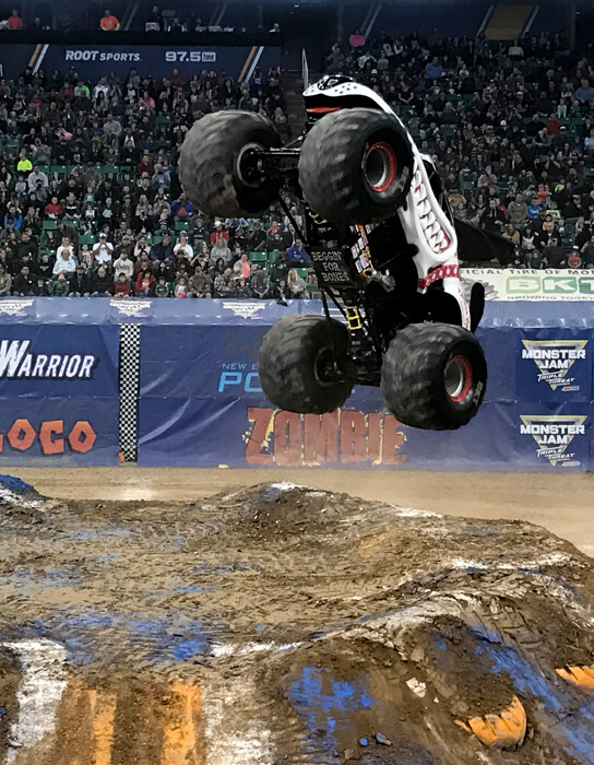 Monster truck drivers are crazy! It's actually really fun to watch. The worst Valentine's date ever...and why I loved it! | Halfpint Design. Valentine's Day Date night ideas, what NOT to do on Valentine's, Valentine's ideas, How to connect with your spouse.
