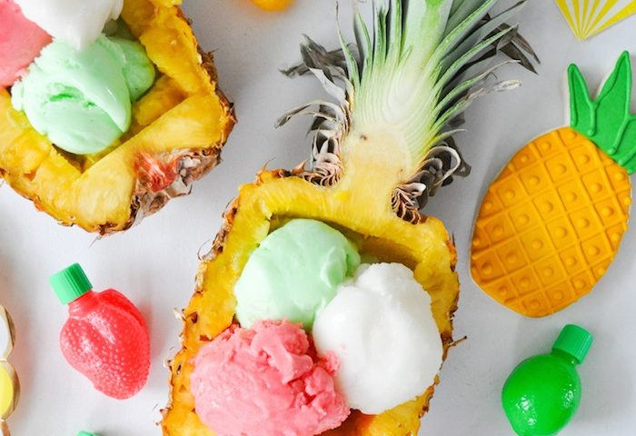 Pineapple ice cream bowl. So yummy for a Tropical party: Luau & Hawaiian. Use a coconut for a Moana theme. Small World gets big with cultural party themes   Halfpint Design