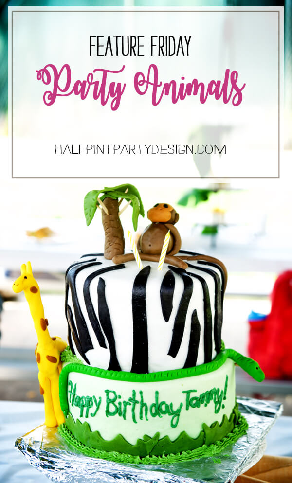 Feature Friday: Party Animals! | Halfpint Design - darling party animal cake created by Emily Knowles. Check out the rest of the darling jungle themed ideas.
