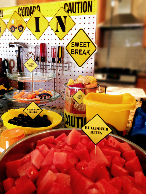 """Construction Party Menu   Halfpint Party - we don't do a lot of sweets but watermelon and rice crispy """"paint brushes"""" made it fun"""