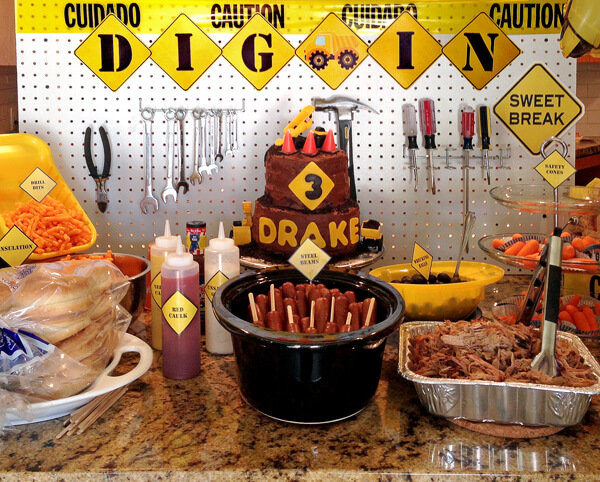Construction Party Menu | Halfpint Party - The food table was the focus inside. The tool display, construction cake, and all the fun food labels really made the party.