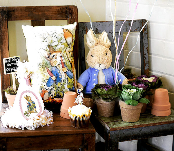 Peter Rabbit in Mr. McGregor's Garden First Birthday Party | Halfpint Design - Beautiful decor for the party!