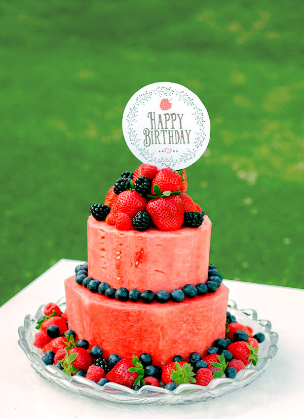 Why I Say NO to Dessert Buffets   Halfpint Design - Kids these days already consume way too much sugar. Let's give them all the fun without the crash. A watermelon cake is a great alternative to a birthday cake.