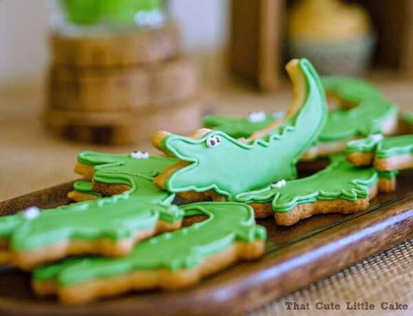Crocodile Party cookies. Greenery Inspired Parties | Halfpint Design - I love these cute little cookies!