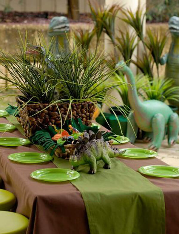 Dinosaur party. Greenery Inspired Parties | Halfpint Design - I love all the potted ferns. They really set the stage for a prehistoric party