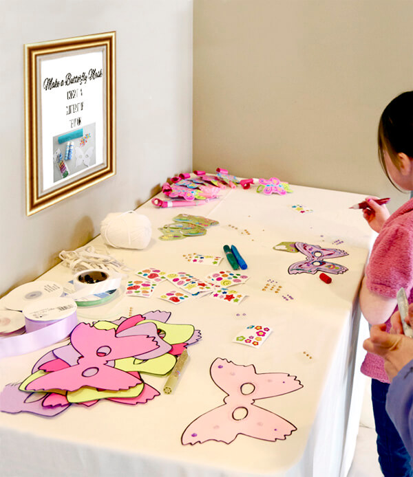 Butterfly First Birthday Party | Halfpint Design - Make your own butterfly mask station. Glitter glue, {washable} markers, and jewel stickers