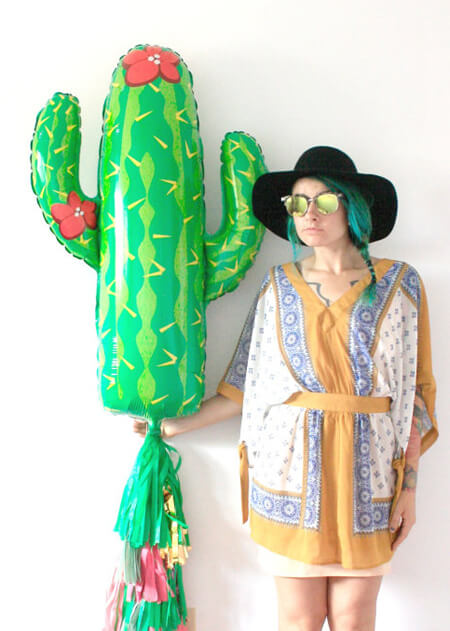 Host a Fabulous Fiesta for Cinco de Mayo | Halfpint Design - Huge cactus mylar with tassel. The perfect piece for your Cinco de Mayo celebration.