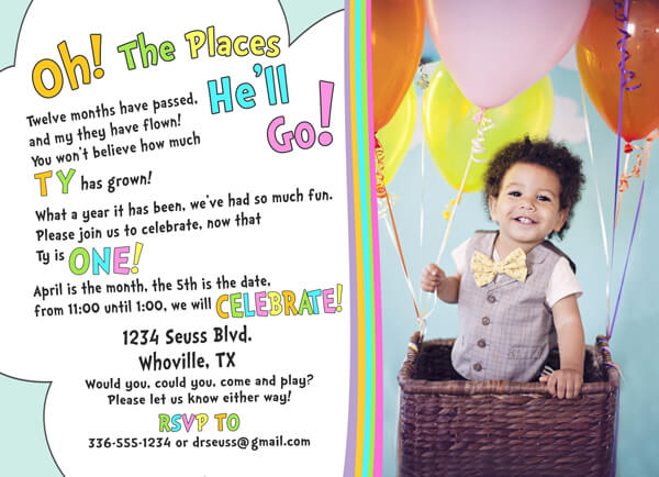"Planning Your First Children's Birthday Party | Halfpint Design - Darling Dr. Seuss ""Oh the Places You'll Go!"" photo invitation from Etsy"