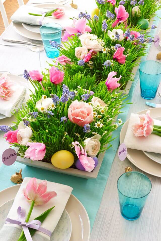 Springtime Party Color Palettes   Halfpint Design - This bright centerpiece doesn't feel overwhelming by using neutrals for the rest of the tablescape