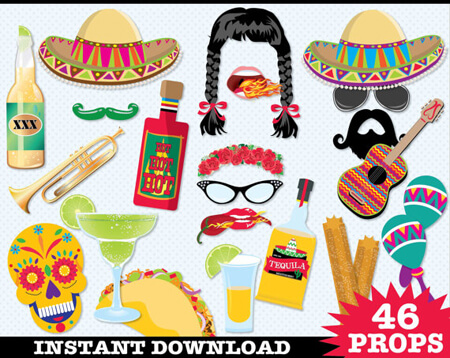 Host a Fabulous Fiesta for Cinco de Mayo | Halfpint Design - Crazy photo props for a wild Cinco de Mayo. We've got sombreros, mustaches, margaritas, and the all important taco.