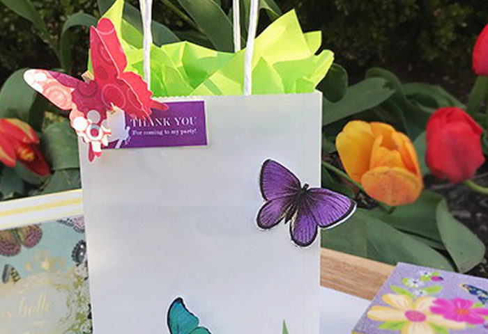 DIY Butterfly Party Favor | Halfpint Design - Cute little favor bag, use a small craft bag filled with treats, or this larger bag as a party loot bag or a gift bag for the birthday girl