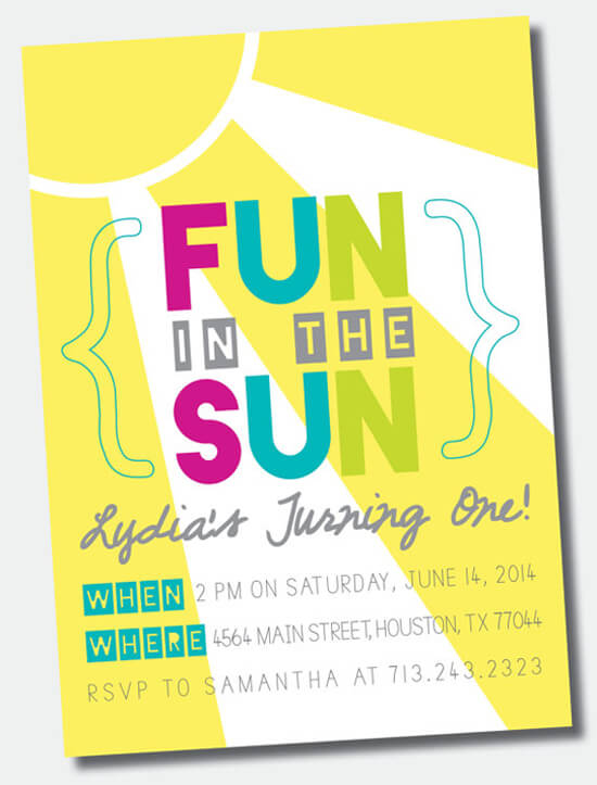 Party by Number: ONE - Halfpint Design - Great first birthday party invitation ideas....Fun in the Sun, {child's} turning ONE