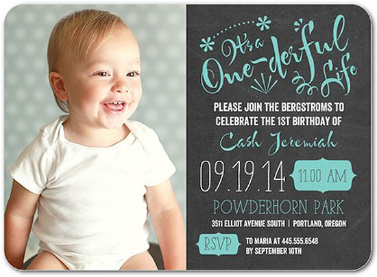 Party by Number: ONE - Halfpint Design - Great first birthday party invitation ideas....It's a ONEderful Life
