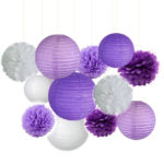 A Passion for Purple | Halfpint Design - Lantern and Pom set pack of 12 Purple Party supplies