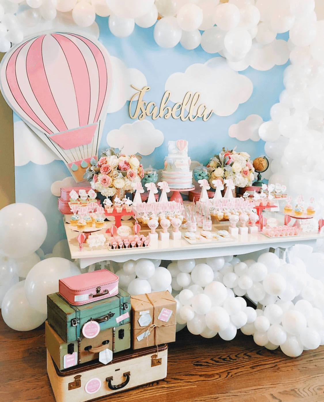 Can I get a Beautiful hot air balloon party like this one from Macy Lima Decor as a low sugar party?