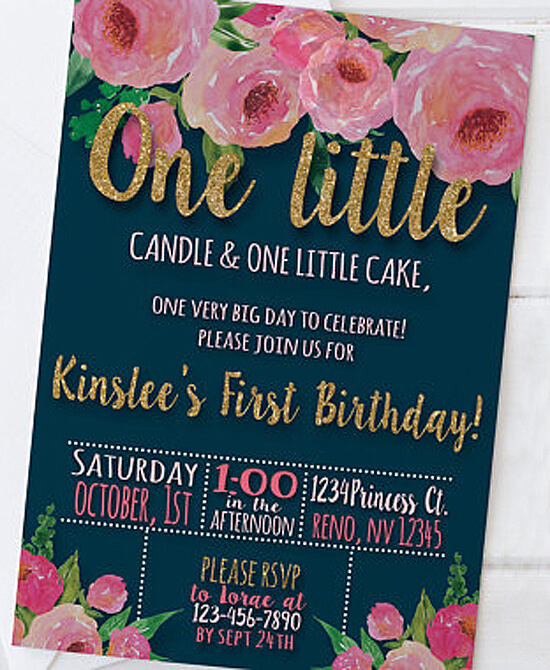 Party by Number: ONE - Halfpint Design - Great first birthday party invitation ideas....ONE little candle, ONE little cake
