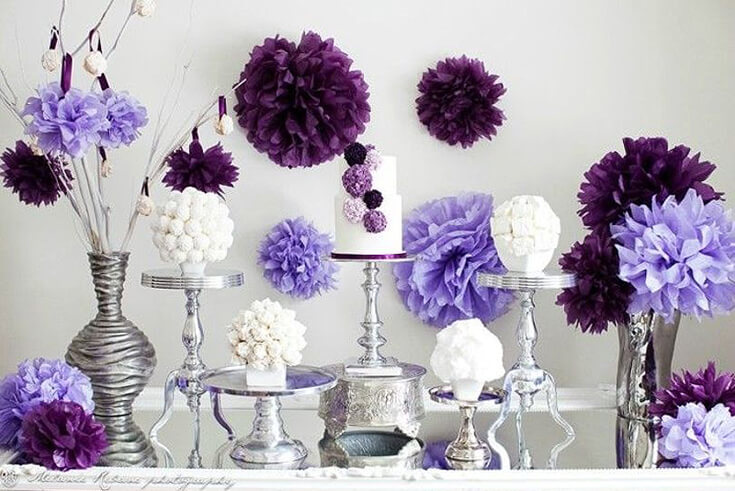 A Passion for Purple | Halfpint Design - Purple pom pom party with white, lavender, and plum