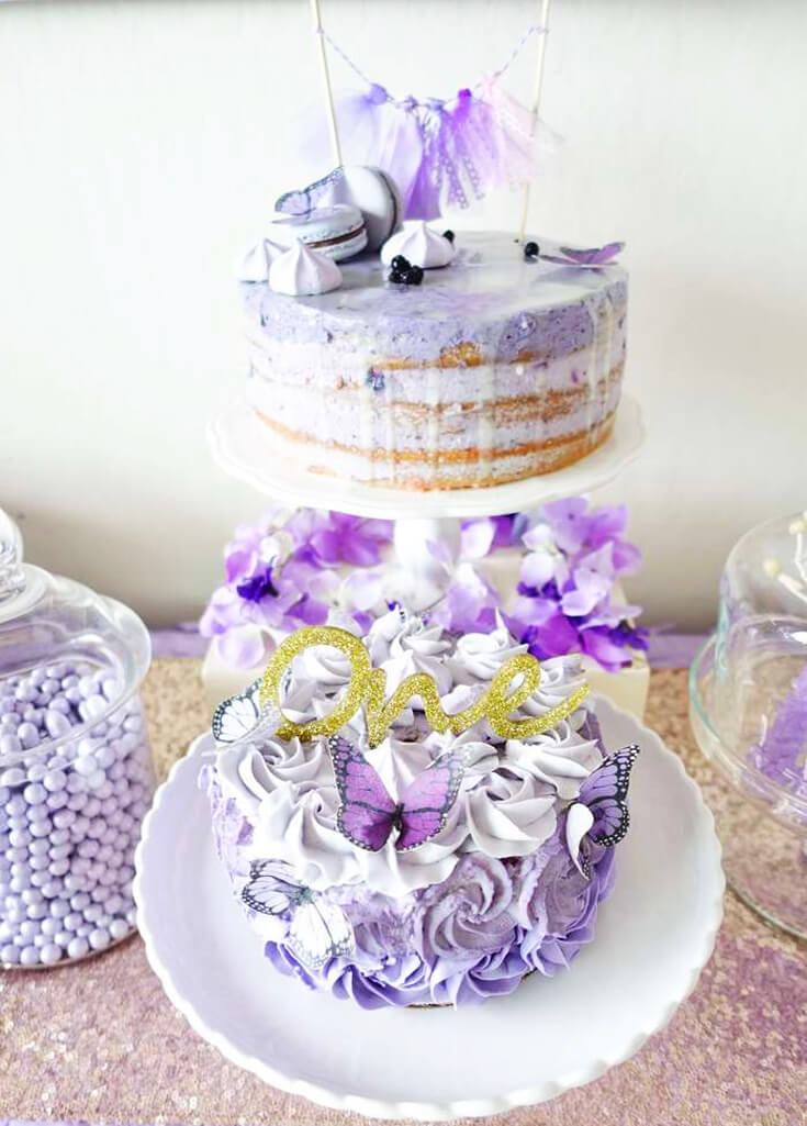 A Passion for Purple | Halfpint Design - I love simple cakes and this lovely naked cake is complemented by a fully frosted rosette cake below. All sporting cut butterflies in purple.