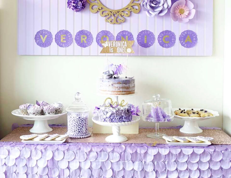 A Passion for Purple | Halfpint Design - A sweet purple first birthday featuring a lovely cake and tablecloth