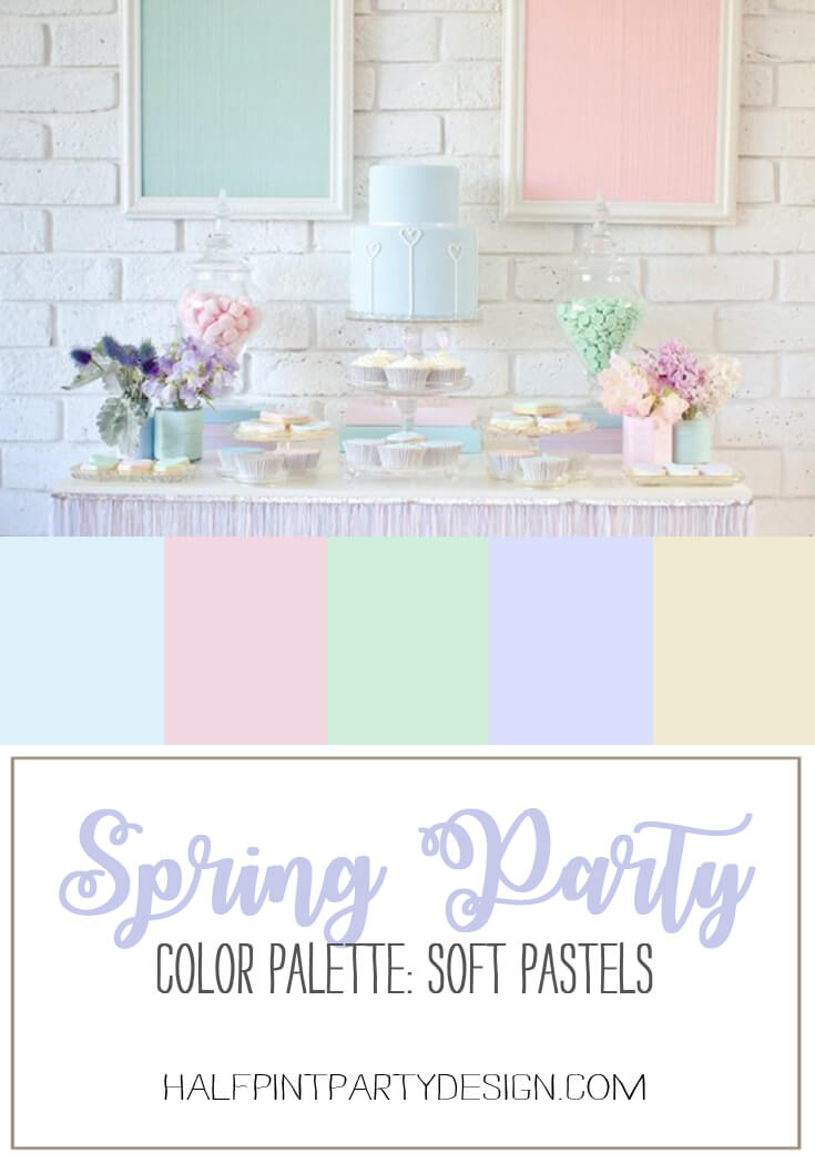 Springtime Party Color Palettes | Halfpint Design - Soft pastels work wonderfully for a sophisticated springtime party