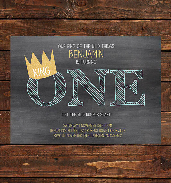 "Party by Number ONE | Halfpint Design - Wild ONE, ""Where the wild things are"" invite by LuLu Paper Prints so cute for a first birthday party"