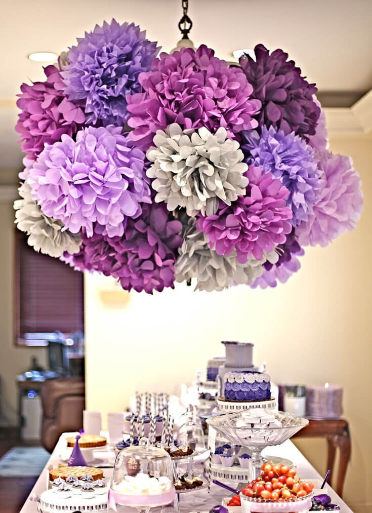 A Passion for Purple | Halfpint Design - Lovely purple party show stopper with the purple pom pom chandelier. I love all of the different tints and shades of purple.