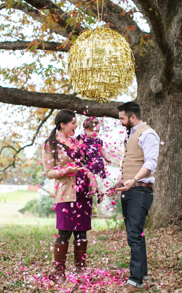 10 Ways to Reveal Baby's Gender | Halfpint Design - This DIY gender reveal piñata is a beautiful way to show everyone what you're expecting.