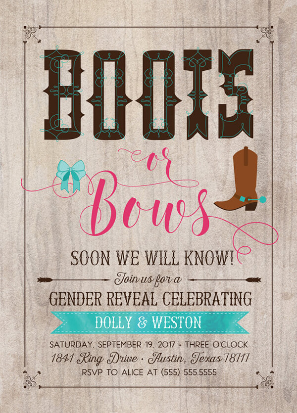 Humorous Gender Reveal Party Ideas | Halfpint Design - Boots or bows. A cowboy theme is always fun