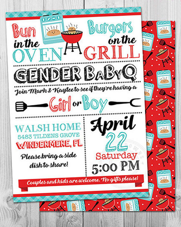Humorous Gender Reveal Party Ideas | Halfpint Design - Bun in the oven, burgers on the grill, Gender Baby-Q, great food centered gender reveal party theme idea