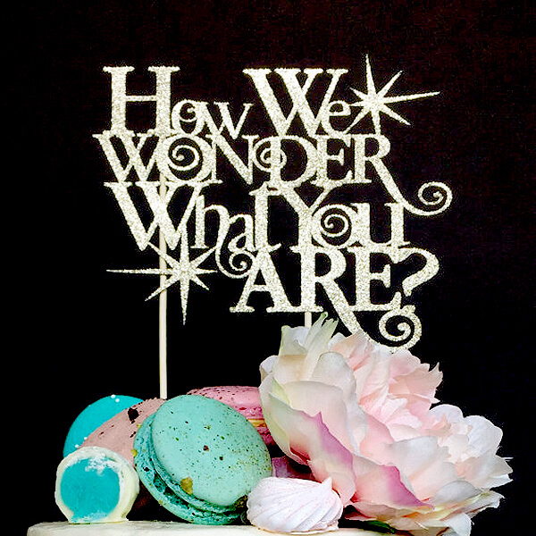 Classy Gender Reveal Party Ideas   Halfpint Design - How I wonder what you are cake topper. Perfect for a twinkle, twinkle gender reveal party theme.