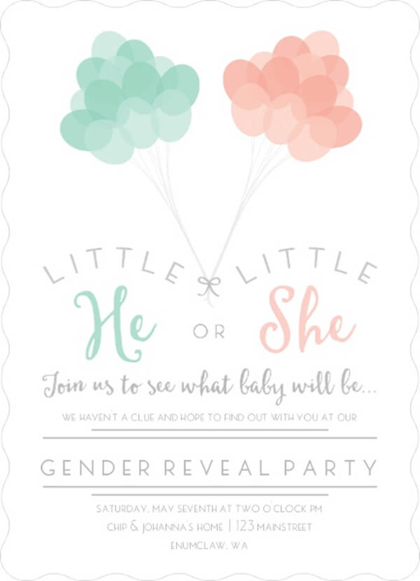 Classy Gender Reveal Party Ideas | Halfpint Design - Little He or Little She in mint and peach is a fabulous gender reveal party invitation. Love that it doesn't use the standard pink and blue.
