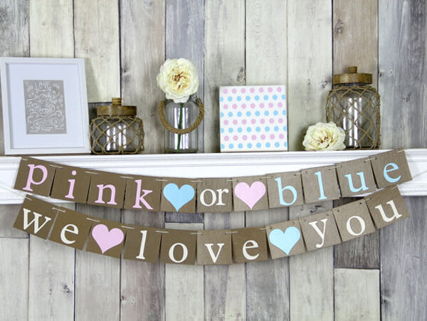 "Classy Gender Reveal Party Ideas | Halfpint Design - Pink or blue, we love you! With people voting it's like someone will be disappointed when the gender is announced. I like this reminder that no matter what you are: ""Baby, you are loved!"""