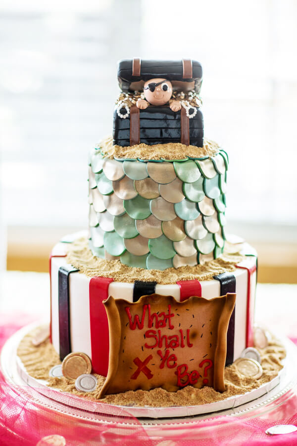 Humorous Gender Reveal Party Ideas | Halfpint Design - Pirate or Mermaid cake? What shall ye be? Great party idea for a gender reveal that is different.