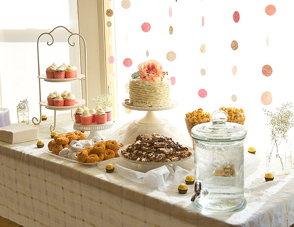 "Vintage Coral & Gold Baby Shower | Halfpint Design - ""So Sweet"" dessert table featured all the sweet treats that mom-to-be craved throughout her pregnancy."