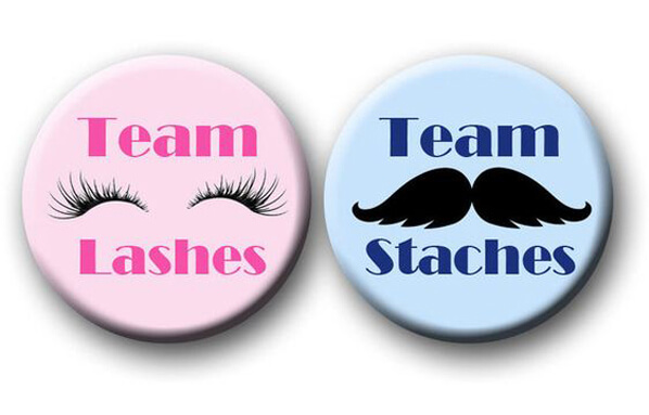 Classy Gender Reveal Party Ideas | Halfpint Design - Team Lashes and Team Staches gender reveal party theme. Give a pin to each guest to wear their vote.
