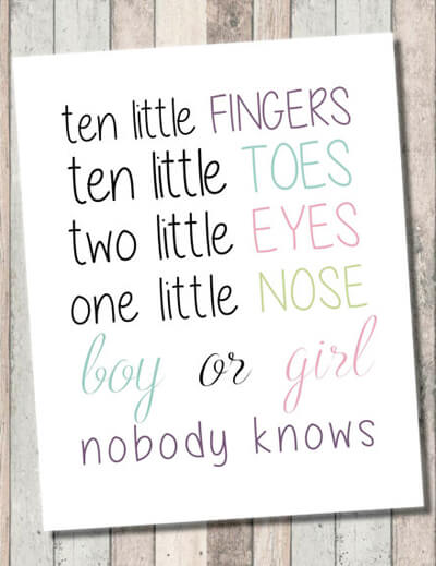 """Classy Gender Reveal Party Ideas   Halfpint Design - """"Ten little fingers, ten little toes, two little eyes, one little nose. Boy or girl, nobody knows. Cute and simple gender reveal party invitation wording or just a great welcome sign for guests."""