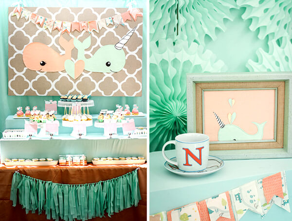 Classy Gender Reveal Party Ideas   Halfpint Design - Mint and peach. This is actually a baby shower for boy and girl twins but this would make a perfect theme for a gender reveal party that is classy and unique.
