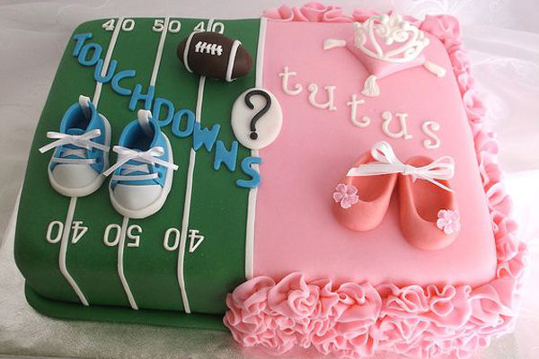 Humorous Gender Reveal Party Ideas | Halfpint Design - Touchdowns or Tutus, personalized party themes based on mom and dad's interests can make the party more meaningful. Divided cake with fondant details