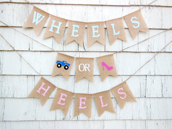 Humorous Gender Reveal Party Ideas | Halfpint Design - Wheels or Heels? Monster trucks and high heels are a hilarious combination if you ask me.