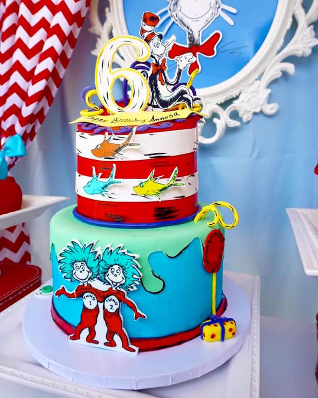 Holiday Decor Double Duty | Halfpint Design - A Dr. Seuss birthday party theme is awesome in August before or after the Back-to-school craze. Red, yellow, and blue is great for carnival, Snow White, and a Pool Party. Double Duty Back-to-school decor.