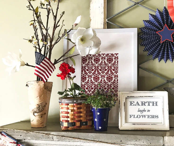 Patriotic Mantel Decor Ideas | Halfpint Design - Loving the more rustic Americana decor for my fourth of July Mantel. Framed art is easy to switch out for different holidays. Red, white, and blue 4th of July.