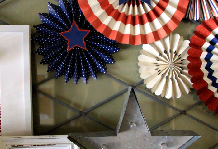 Holiday Decor Double Duty | Halfpint Design - This patriotic mantel is great for a super hero party or nautical party. Red, white, and blue are perfect party colors to use before and after 4th of July for a Wonder Woman or Captain America party (stars included) or Superman and Spiderman. Double Duty Fourth of July decor.