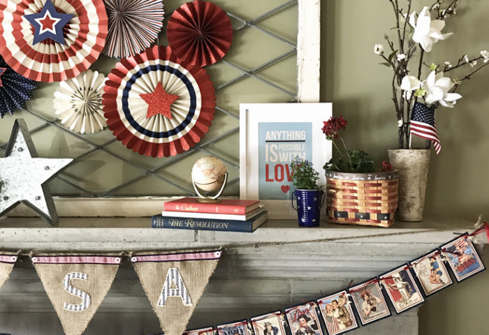 Patriotic Mantel Decor Ideas | Halfpint Design - Loving the more rustic Americana decor for my fourth of July Mantel. Red, white, and blue 4th of July.