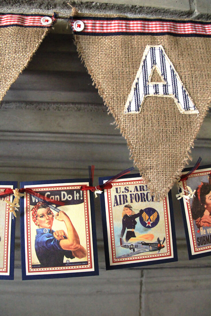 1940's Retro Banner DIY | Halfpint Design - A great addition to your patriotic decor for 4th of July, Memorial Day, Patriot's Day, Veteran's Day or when you are just Proud to be an American! Vintage looking pin-up images. Americana decor. Final Product!